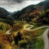 Winding road to the mountains