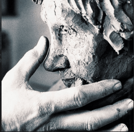 Sculptor sculpting face