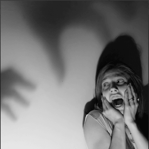 Woman screaming in fear