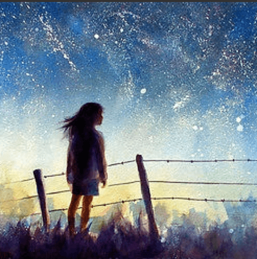 Girl looking to stars